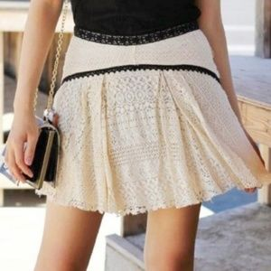 Free People Apple of My Eye Cream Lace Mini Skirt